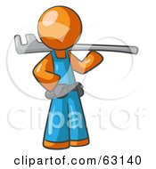 Royalty Free RF Clipart Illustration Of An Orange Man Plumber With A Tool