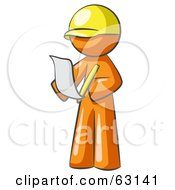 Royalty Free RF Clipart Illustration Of An Orange Man Draftsman Reviewing Plans by Leo Blanchette