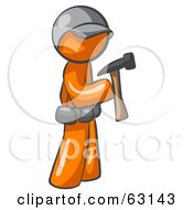 Royalty Free RF Clipart Illustration Of An Orange Man Contractor Hammering by Leo Blanchette