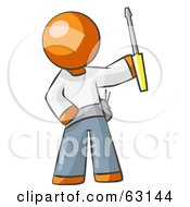 Royalty Free RF Clipart Illustration Of An Orange Man Electrician Holding A Screwdriver