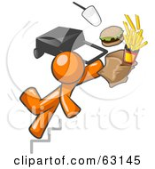 Royalty Free RF Clipart Illustration Of An Orange Man Tripping On Stairs With Fast Food And A Rolling Briefcase Flying by Leo Blanchette