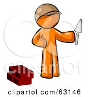 Royalty Free RF Clipart Illustration Of An Orange Man Brick Layer Holding A Trowel by Leo Blanchette