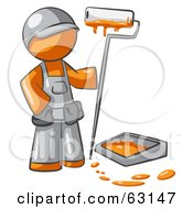 Royalty Free RF Clipart Illustration Of An Orange Man Painter With A Paint Pan And Roller by Leo Blanchette