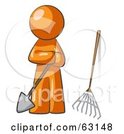 Orange Man Gardener With A Shovel And A Rake