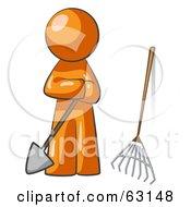 Orange Man Gardener With A Shovel And A Rake
