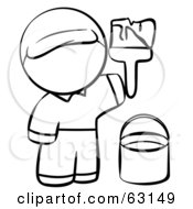 Royalty Free RF Clipart Illustration Of A Human Factor Man Painting