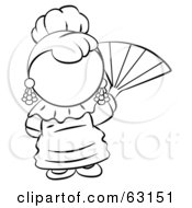 Royalty Free RF Clipart Illustration Of A Black And White Human Factor Spanish Woman Waving A Hand Fan