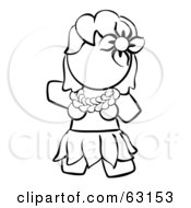 Royalty Free RF Clipart Illustration Of A Black And White Human Factor Hawaiian Hula Girl