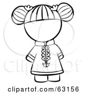 Royalty Free RF Clipart Illustration Of A Black And White Human Factor Chinese Girl With Her Hair Tied Up by Leo Blanchette