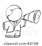 Royalty Free RF Clipart Illustration Of A Black And White Human Factor Man Using A Megaphone