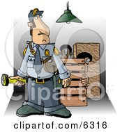 Security Guard Checking Property At Night For Criminals Clipart Picture by Dennis Cox