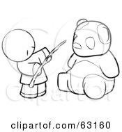 Royalty Free RF Clipart Illustration Of A Black And White Human Factor Chinese Man Feeding A Panda