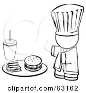 Royalty Free RF Clipart Illustration Of A Black And White Human Factor Chef Serving Fast Food