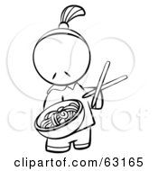 Royalty Free RF Clipart Illustration Of A Black And White Human Factor Chinese Man Serving Noodles