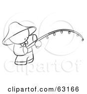 Royalty Free RF Clipart Illustration Of A Black And White Human Factor Chinese Man Fishing