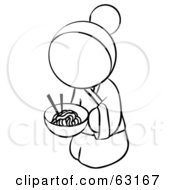 Royalty Free RF Clipart Illustration Of A Black And White Human Factor Geisha Woman Eating Noodles