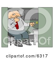 Businessman Smoking A Cigarette In His Cubicle Clipart Picture by Dennis Cox
