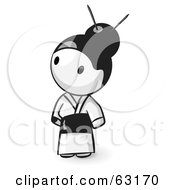 Royalty Free RF Clipart Illustration Of A Human Factor Geisha In A White Kimono
