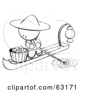 Royalty Free RF Clipart Illustration Of A Black And White Human Factor Chinese Man On A Food Boat