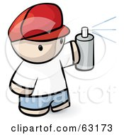 Royalty Free RF Clipart Illustration Of A Human Factor Man Spraying A Can Of Paint by Leo Blanchette