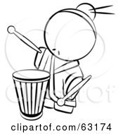 Royalty Free RF Clipart Illustration Of A Black And White Human Factor Drummer Chinese Man