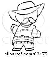 Royalty Free RF Clipart Illustration Of A Black And White Human Factor Spanish Man In A Hat