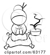Royalty Free RF Clipart Illustration Of A Black And White Human Factor Japanese Geisha Sitting On A Pillow by Leo Blanchette