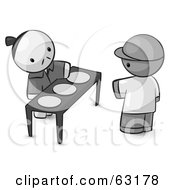 Royalty Free RF Clipart Illustration Of A Human Factor Oriental Man Serving Plates To A Customer by Leo Blanchette
