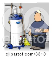 Local Water Heater Repairman Taking Notes Clipart Illustration