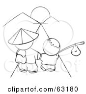 Royalty Free RF Clipart Illustration Of A Black And White Human Factor Chinese Father And Son Walking Towards The Sunset