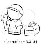 Royalty Free RF Clipart Illustration Of A Black And White Human Factor Contractor Man With His Tool Box