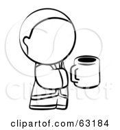 Royalty Free RF Clipart Illustration Of A Black And White Human Factor Man Holding A Cup Of Coffee