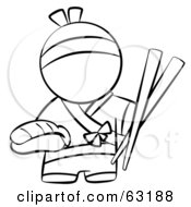 Royalty Free RF Clipart Illustration Of A Black And White Human Factor Japanese Chef With Chopsticks And Sushi