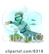 Scuba Diver With Sharks In The Deep Sea Clipart Illustration by Dennis Cox