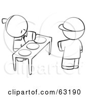 Royalty Free RF Clipart Illustration Of A Black And White Human Factor Boy Picking A Plate Of Food From An Oriental Man