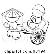 Royalty Free RF Clipart Illustration Of A Black And White Human Factor Chinese Man Pulling A Customer In A Cart