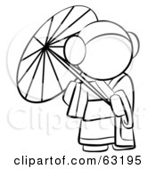 Royalty Free RF Clipart Illustration Of A Black And White Human Factor Geisha Woman Strolling With A Parasol by Leo Blanchette