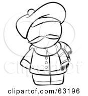 Royalty Free RF Clipart Illustration Of A Black And White Human Factor French Man With A Hat And Scarf
