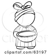 Royalty Free RF Clipart Illustration Of A Black And White Human Factor African Girl Outline Carrying A Bowl