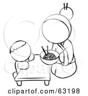 Royalty Free RF Clipart Illustration Of A Black And White Human Factor Chinese Woman Feeding Her Baby Noodles