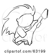 Royalty Free RF Clipart Illustration Of A Black And White Human Factor Rock Guitarist Man