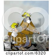 Urban Search And Rescue USAR Team Digging Through A Pile Of Fallen Debris Clipart Illustration