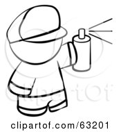 Royalty Free RF Clipart Illustration Of A Black And White Human Factor Boy Spray Painting