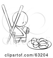 Black And White Human Factor Sushi Chef With Giant Chopsticks