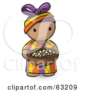 Royalty Free RF Clipart Illustration Of A Human Factor African Girl Carrying A Bowl Of Food