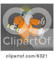 Sewer Worker Walking Through A Dark Tunnel Clipart Illustration