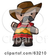 Royalty Free RF Clipart Illustration Of A Human Factor Spanish Man Waving by Leo Blanchette