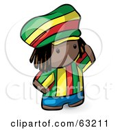 Royalty Free RF Clipart Illustration Of A Human Factor Rasta Man In Colorful Clothes by Leo Blanchette