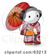 Royalty Free RF Clipart Illustration Of A Human Factor Geisha Woman Using An Umbrella by Leo Blanchette