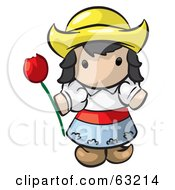 Royalty Free RF Clipart Illustration Of A Human Factor Dutch Girl Holding A Red Tulip by Leo Blanchette